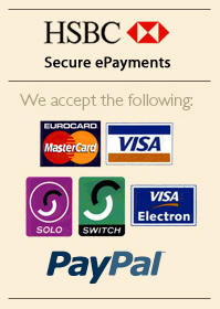 We accept Mastercard, Visa, Solo, Switch, Electron and Paypal